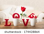 Red Love Letters In Teacups...