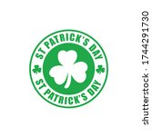 st patrick day round ink stamp | Shutterstock .eps vector #1744291730