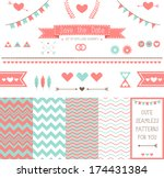 set of elements for wedding... | Shutterstock .eps vector #174431384