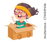 happy kid playing with... | Shutterstock .eps vector #1744339106