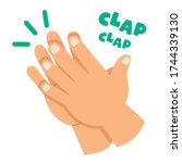 cartoon concept of clapping... | Shutterstock .eps vector #1744339130
