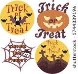set of halloween decoration... | Shutterstock .eps vector #1744339196