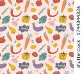 vegetables seamless pattern ... | Shutterstock .eps vector #1744344326