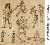 world music and musicians... | Shutterstock .eps vector #174436829