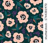 beige flowers abstract pattern. ...   Shutterstock .eps vector #1744381970