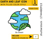 earth and leaf premium icon...
