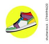 colorfull sneakers artwork...   Shutterstock .eps vector #1744494620