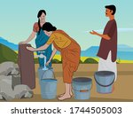 Indian Woman Filling Water...