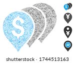 line mosaic money map pointers... | Shutterstock .eps vector #1744513163