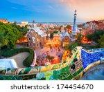 park guell in barcelona  spain. | Shutterstock . vector #174454670
