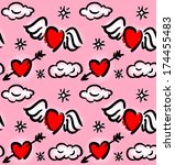 seamless pattern with hearts... | Shutterstock . vector #174455483