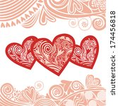 valentines day card romantic... | Shutterstock .eps vector #174456818