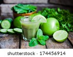 green smoothie with apples... | Shutterstock . vector #174456914