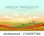 land of tranquillity poster...   Shutterstock .eps vector #1744597760