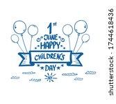 1 june international childrens... | Shutterstock .eps vector #1744618436