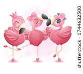 three cute flamingo with...   Shutterstock .eps vector #1744632500