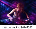 beautiful young dj playing on... | Shutterstock . vector #174464909