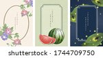 oriental japanese style... | Shutterstock .eps vector #1744709750