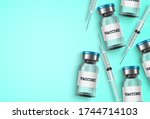 vaccine and syringe vector... | Shutterstock .eps vector #1744714103