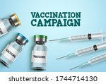 vaccination campaign vector... | Shutterstock .eps vector #1744714130