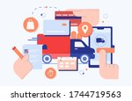 online purchase shop delivery... | Shutterstock .eps vector #1744719563