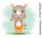 Cute Little Rhino In The...