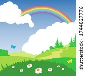 rainbow behind the clouds and... | Shutterstock .eps vector #1744827776
