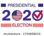 presidential election 2020 in... | Shutterstock .eps vector #1744858010
