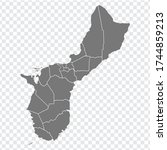 blank map of guam. high quality ... | Shutterstock .eps vector #1744859213