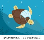 tropical turtle with medical... | Shutterstock .eps vector #1744859513