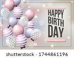 happy birthday balloons banner... | Shutterstock .eps vector #1744861196