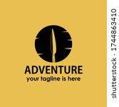 vintage retro adventure spear... | Shutterstock .eps vector #1744863410