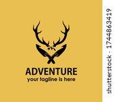 vintage retro adventure antler... | Shutterstock .eps vector #1744863419