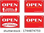 open sign set of red background ... | Shutterstock .eps vector #1744874753