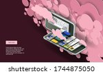pink clouds and a mobile phone... | Shutterstock .eps vector #1744875050