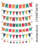 party bunting. flat yellow ... | Shutterstock .eps vector #1744876670