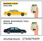 order taxi online. book... | Shutterstock .eps vector #1744879499