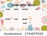 weekly planner  summer flowers... | Shutterstock .eps vector #1744879520