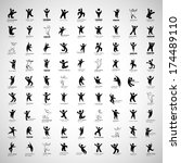 abstract human symbols set.... | Shutterstock .eps vector #174489110