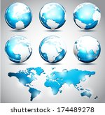 vector illustration of globes... | Shutterstock .eps vector #174489278