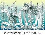 cute fish in the aquarium. hand ... | Shutterstock . vector #1744898780