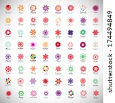 flower icons set   isolated on... | Shutterstock .eps vector #174494849