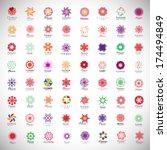 flower icons set   isolated on... | Shutterstock .eps vector #174494849