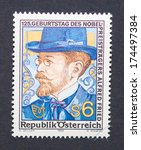 Small photo of AUSTRIA - CIRCA 1989: a postage stamp printed in Austria showing an image of Alfred Nobel, circa 1989.