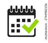 calendar and check mark vector...   Shutterstock .eps vector #1744982156