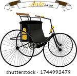 1890 model retro four wheeled car in black.