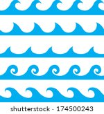 seamless vector blue wave line... | Shutterstock .eps vector #174500243