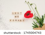 Red Poppy Flowers In Envelope...