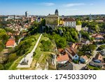 Aerial drone photo about the downtown cathedral of Veszprem, Hungary