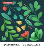 plants and flowers 3d objects... | Shutterstock .eps vector #1745036216